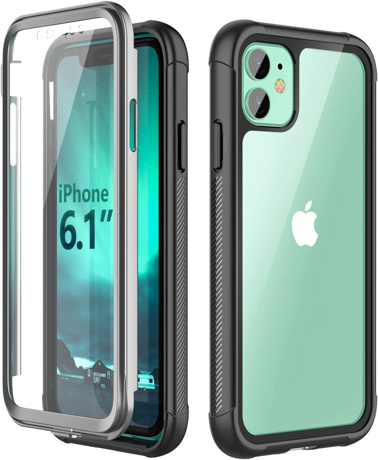 SPIDERCASE for iPhone 11 Case, Built-in Screen Protector Clear Full Body Heavy Duty Protection Shockproof Anti-Scratched Rugged Cases for iPhone 11 6.1 inch 2019