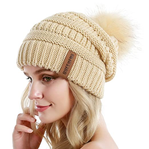 0cd8a996a1e79 QUEENFUR Women Knit Slouchy Beanie Chunky Baggy Hat with Faux Fur Pompom  Winter Soft Warm Ski Cap at Amazon Women's Clothing store: