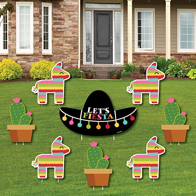 Mexican Fiesta Yard Signs Let/'s Fiesta Yard Sign Outdoor Lawn Decoration Mexican Festival Signs Cinco de mayo Party Lawn Signs