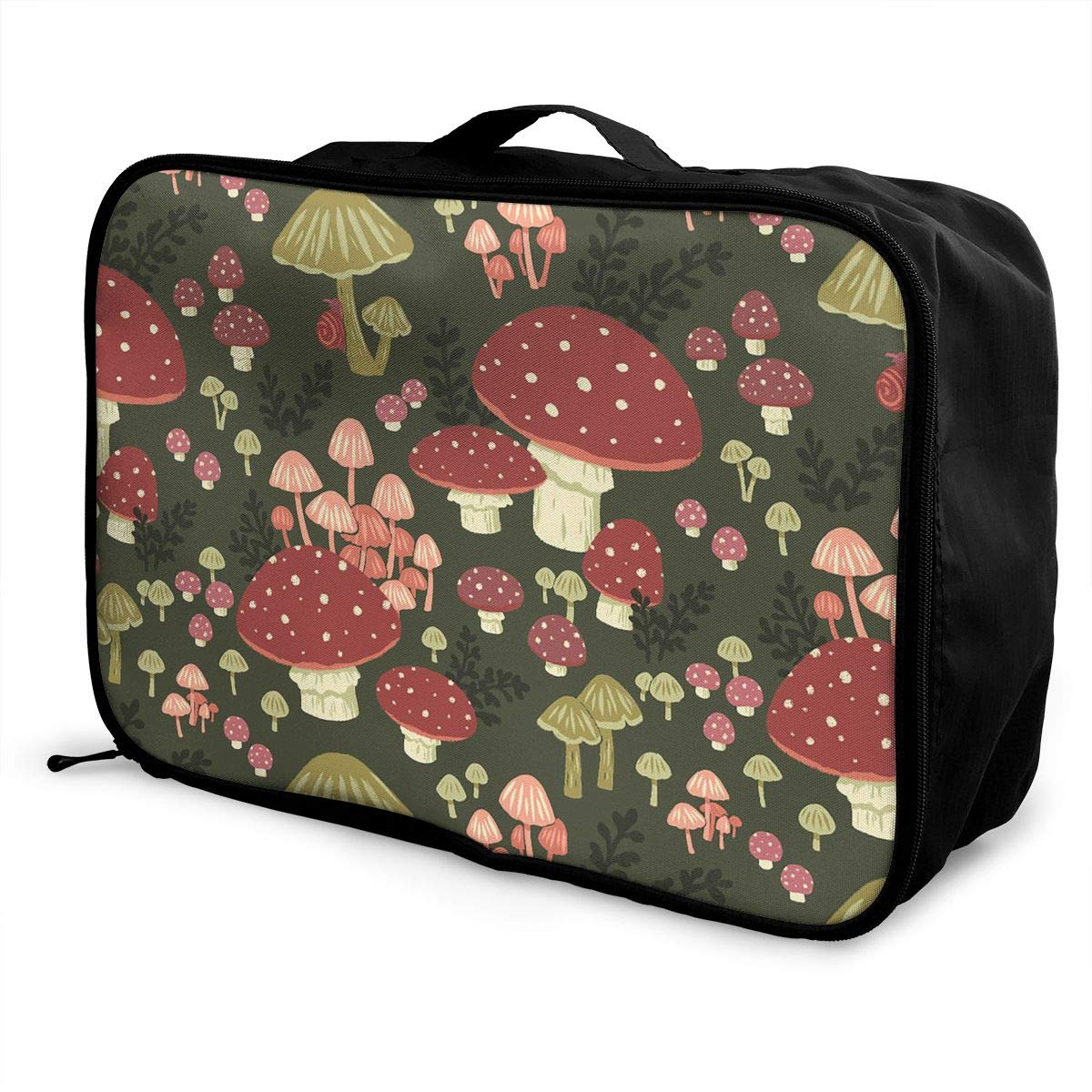 Travel Luggage Duffle Bag Lightweight Portable Handbag Mushroom Pattern Large Capacity Waterproof Foldable Storage Tote