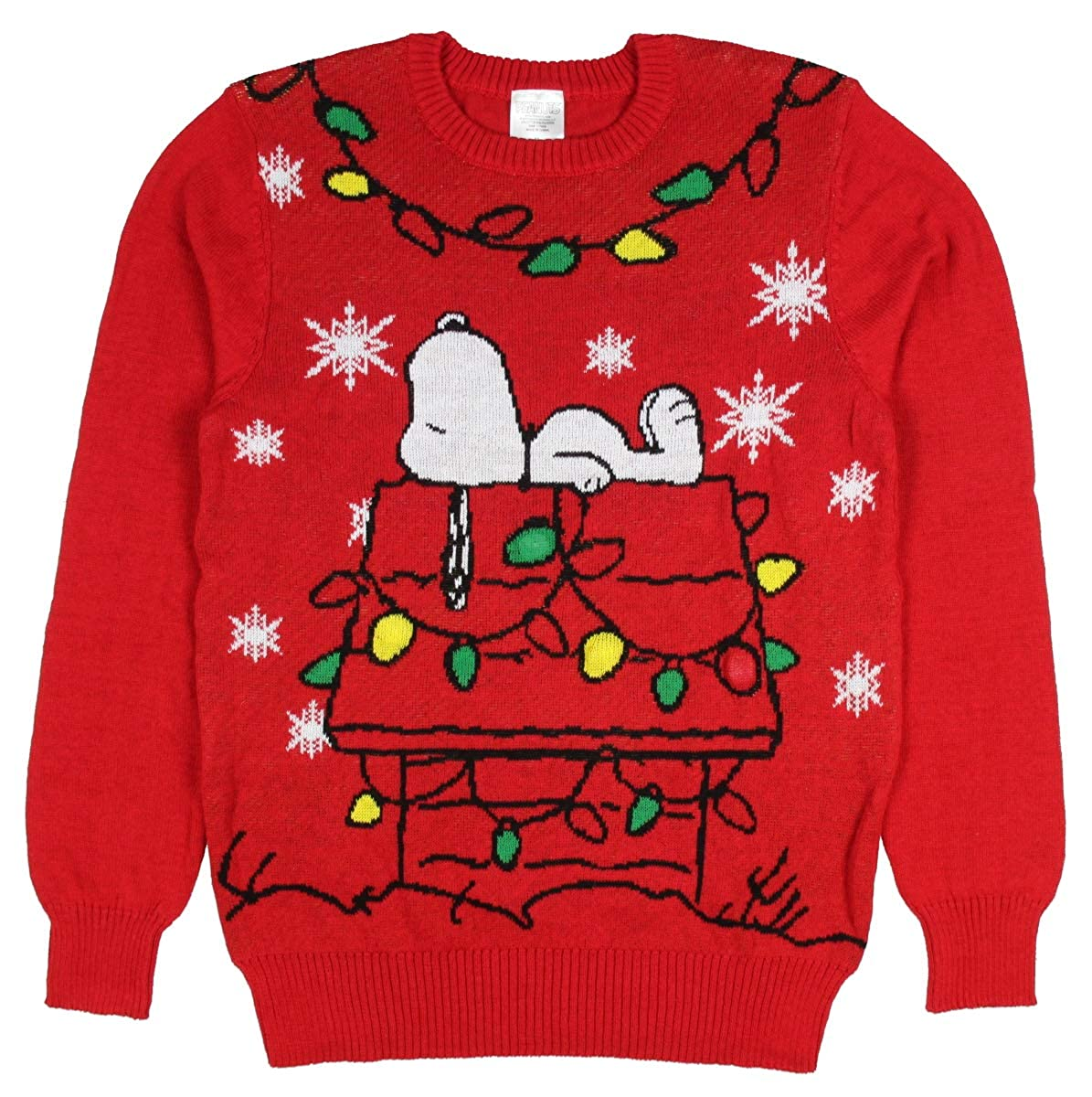 Peanuts Snoopy Christmas Lights Doghouse Mens Holiday Sweater