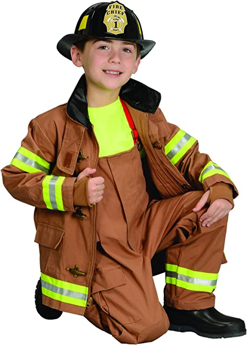 Aeromax Jr. Fire Fighter Suit With Helmet Size (Black)