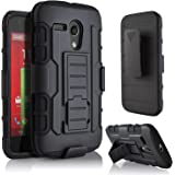 Moto G Case, Motorola Moto G Case, Starshop [Heavy Duty] Dual Layers with Kickstand and Locking Belt Clip Black