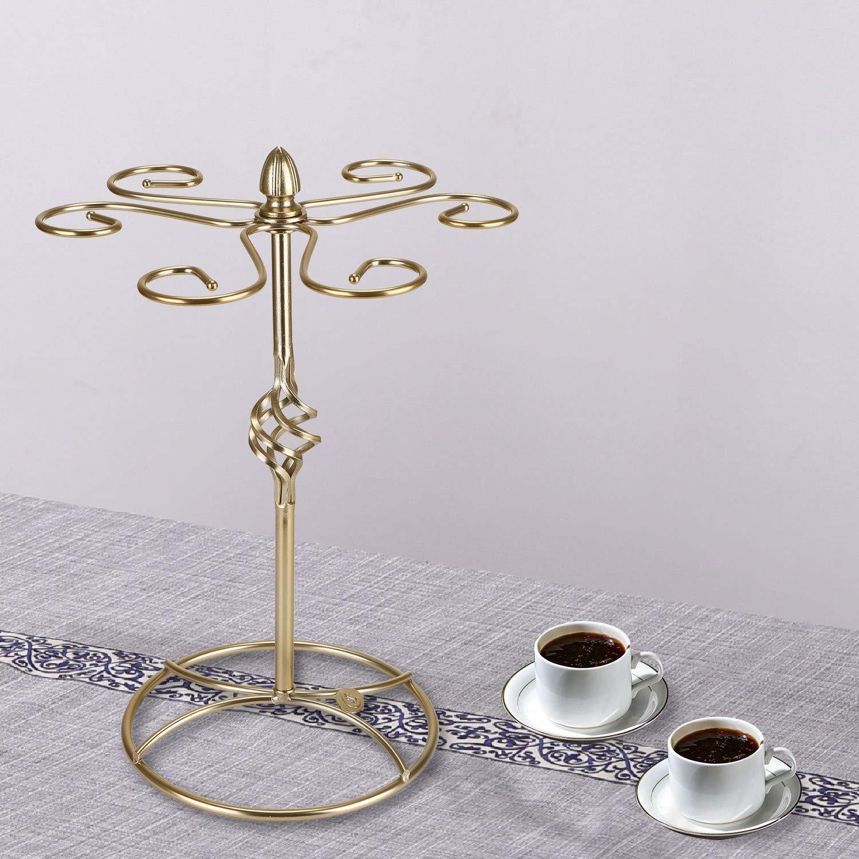 Asvert Metal Freestanding Tabletop Stemware Storage Rack//Wine Glass Cup Holder with 6 Hooks Bronze