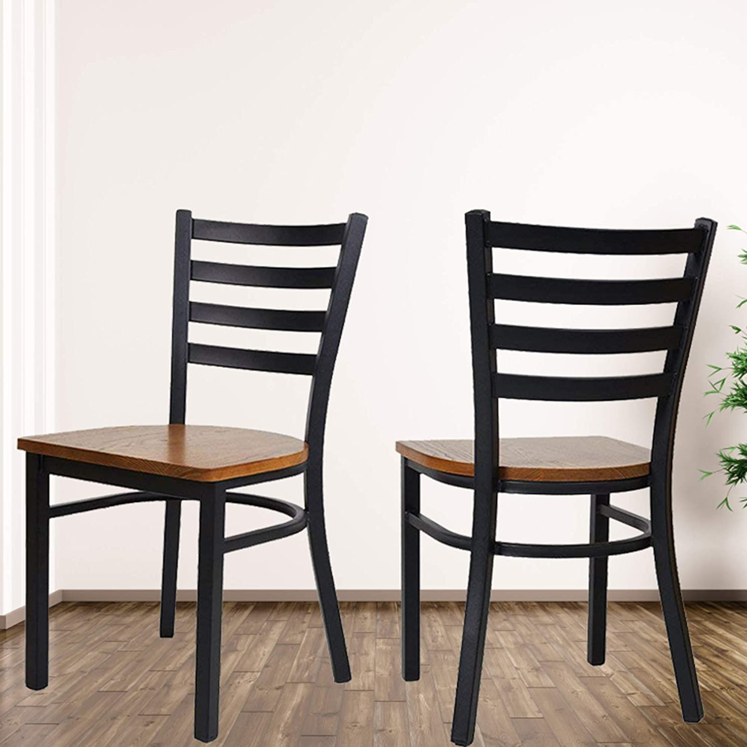 Amazon com karmas product fully assembled stackable metal dining chairs with solid wooden seat kitchen restaurant bistro cafe side chairs set of 2