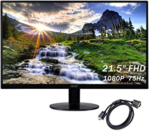 2020 Acer 21.5 Inches 75Hz Borderless FHD (1920 x 1080) IPS LED Monitor, HDMI, VGA, Radeon FreeSync, Black + NexiGo VGA Cable