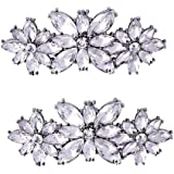 Polkar 2 Pairs Elegant Rhinestone Crystal Metal Shoe Clips Shoe Buckle for Wedding Party Decoration