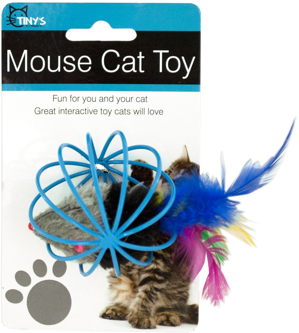 Feathered Mouse in Ball Cage Cat Toy Pack of 12