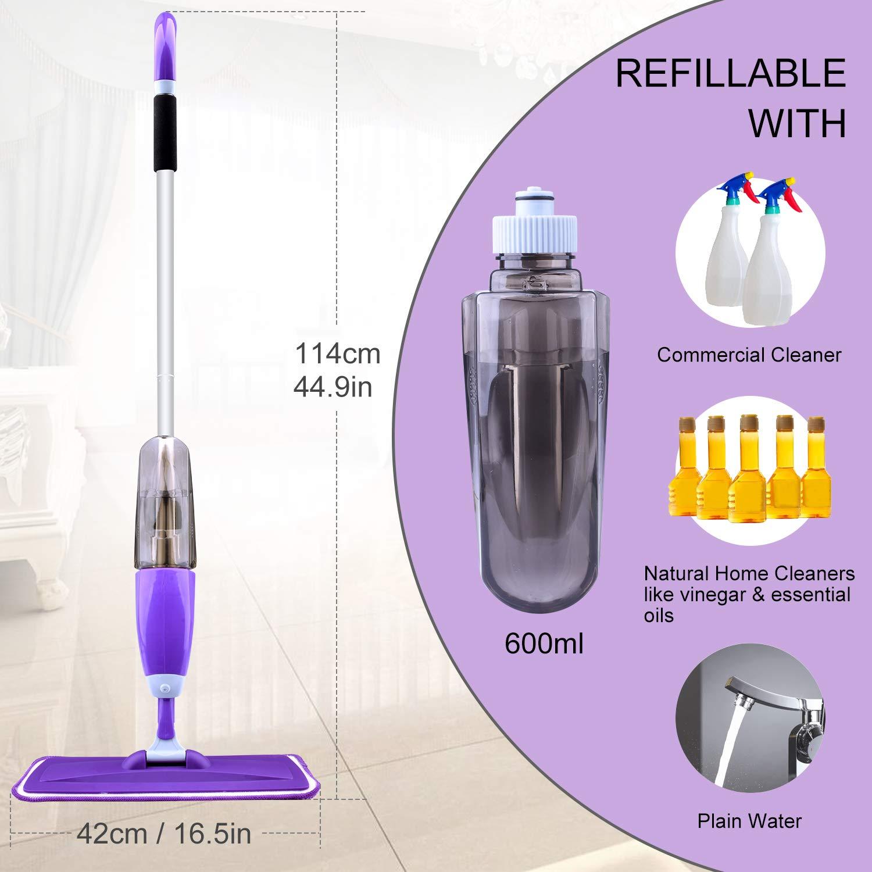 Hardwood Floor Mop Microfiber Spray Mop with Refillable Bottle and 2 Pcs Reusable Microfiber Pads (Purple) by BONROB (Image #4)