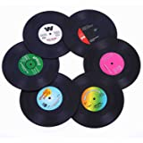Ankzon Coasters for Drinks with Gift Box - Set of 6 Colorful Retro Vinyl Record Disk Coasters with Funny Labels-Prevent…