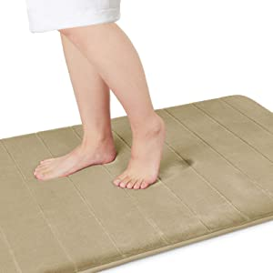 Yimobra Memory Foam Bath Mat Large Size 44.1 x 24 Inches, Comfortable, Soft, Super Water Absorption, Machine Wash, Non-Slip, Thick, Easier to Dry for Bathroom Floor Rug, Camel