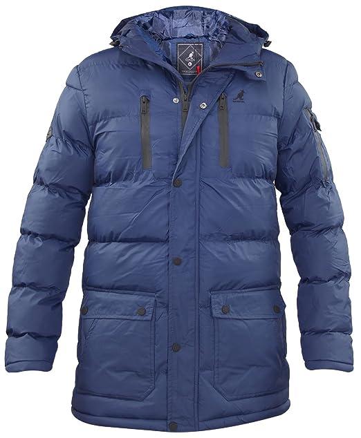 Nuevos hombres Kangol marca con forro forrado con cremallera larga longitud chaqueta con capucha abrigo de invierno: Amazon.es: Ropa y accesorios