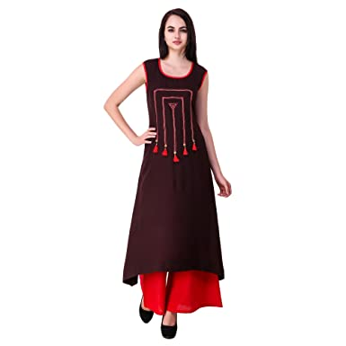 b889d97b139c1 Sreshee Women's Cotton Designer Kurti with Palazzo Pants Set: Amazon ...