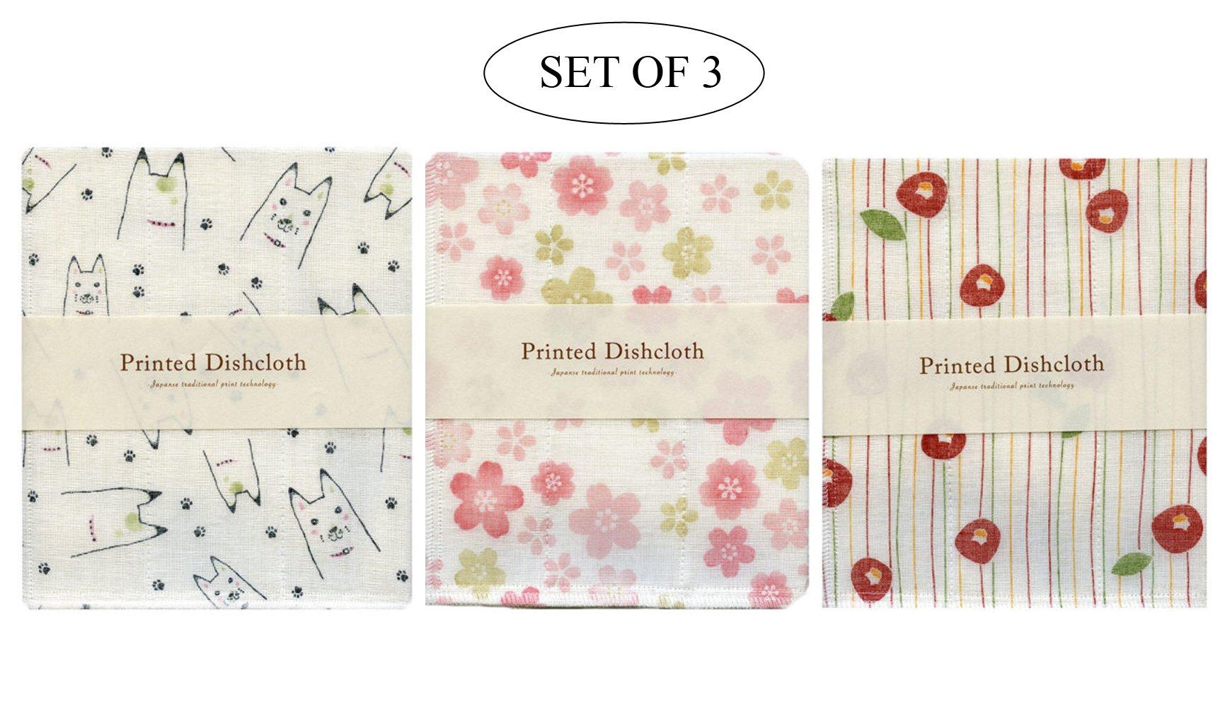 IPPINKA Nawrap Set of 3 Printed Dishcloths, Animal Print, Flower Print and Poppy Print