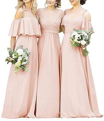 8f192c37b37a CLOTHKNOW Chiffon Bridesmaid Dresses Long Blush Off The Shoulder Ruffles