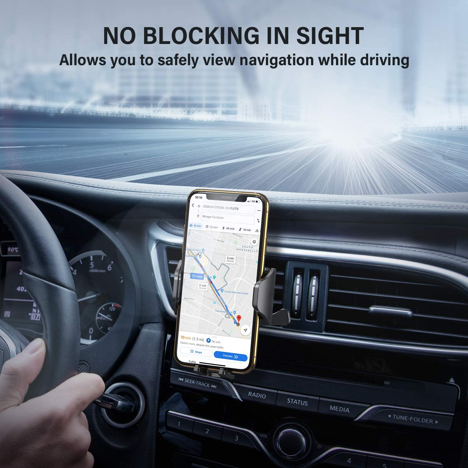 S10e S9 S8 S7 and More Samsung Galaxy S10 S10 DesertWest Air Vent Car Phone Mount Hassle-free Cell Phone Holder Universal Compatible with iPhone 11 Pro X XS Max XR 8 7 6+