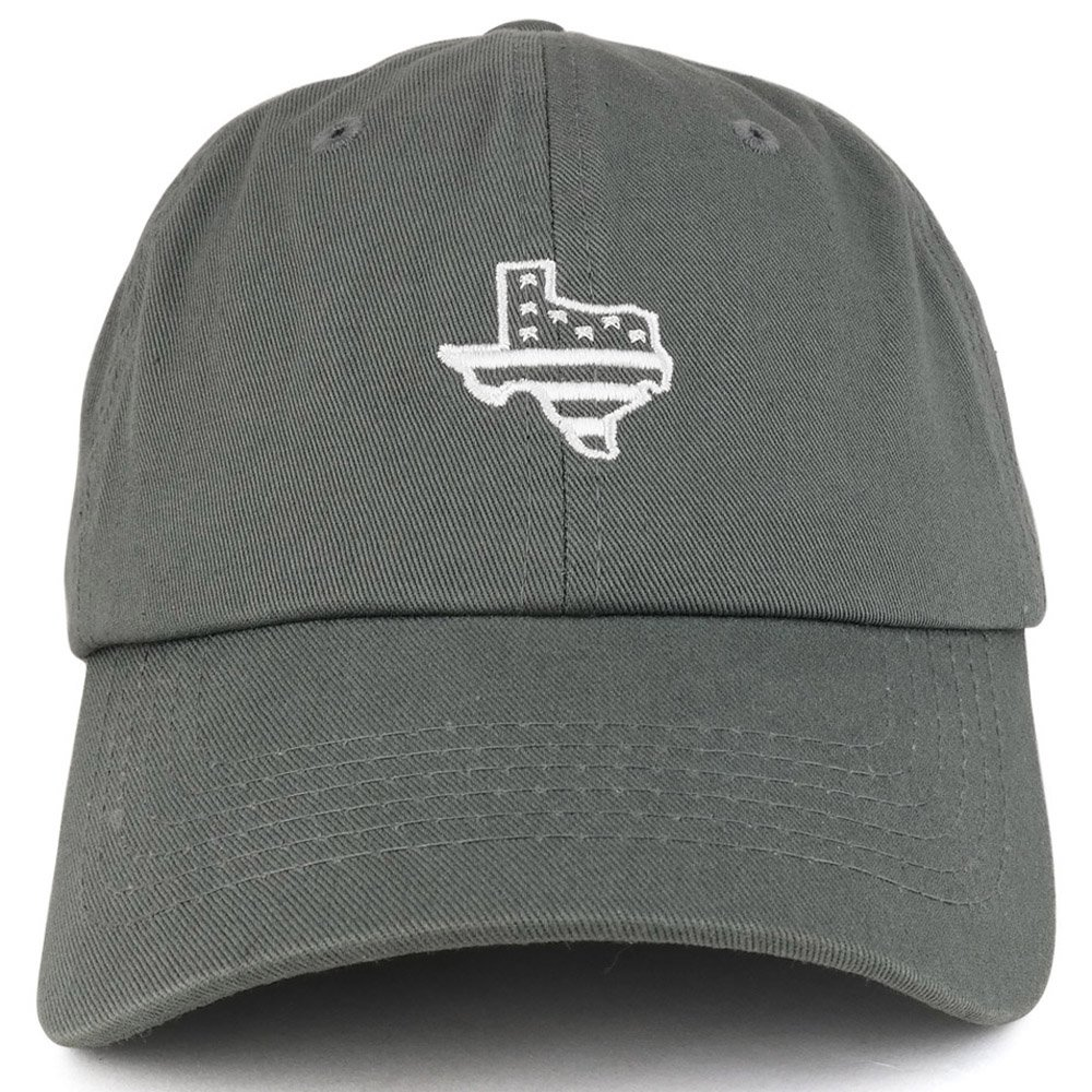 a0cf53cedc5 Trendy Apparel Shop Texas State Map USA Flag Embroidered Unstructured Dad  Cap - Charcoal at Amazon Men s Clothing store