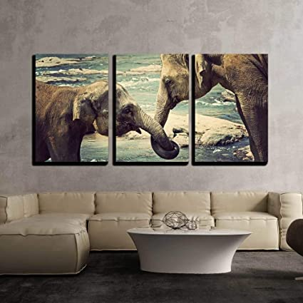 BABE MAPS 24quotx36quotx3 Panels Wall Art Painting Ready Hang Elephant Kissing Represents