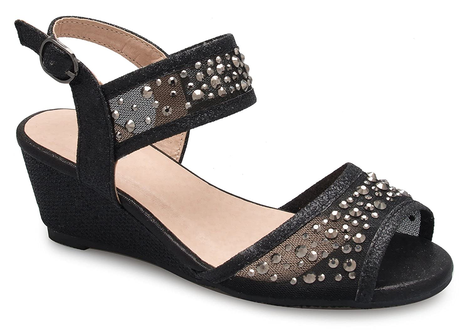 OLIVIA K Girl's Peep Toe Rhinestone Ankle Strap with Adjustable Buckle Wedge Sandals - Adorable, Comfort, Casual
