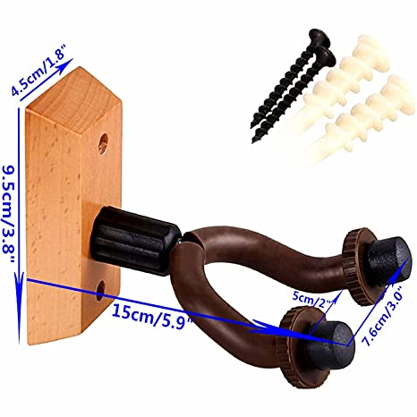 WINGO Soporte para guitarra de madera Soporte para montaje en pared Soporte para casa y estudio - Paquete de 2