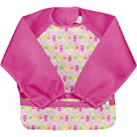 green sprouts Easy-wear Long Sleeve Bib | Waterproof Protection | Flipped Pocket, Soft Material, Easy Clean Smock