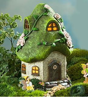 Miniature Fairy Garden Round Solar Fairy Cottage, Rose