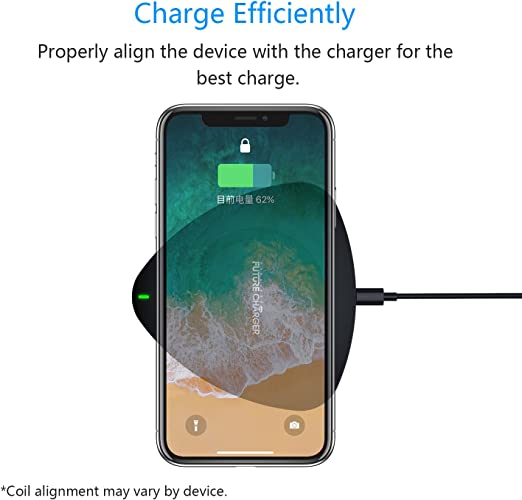 FutureCharger Wireless Charger Ultra-Slim Qi Wireless Charging Pad for iPhone 8 / 8 Plus, iPhone X, Nexus 5 / 6 / 7 Galaxy S8/ S8+/ S7 / S7 edge / S6 ...