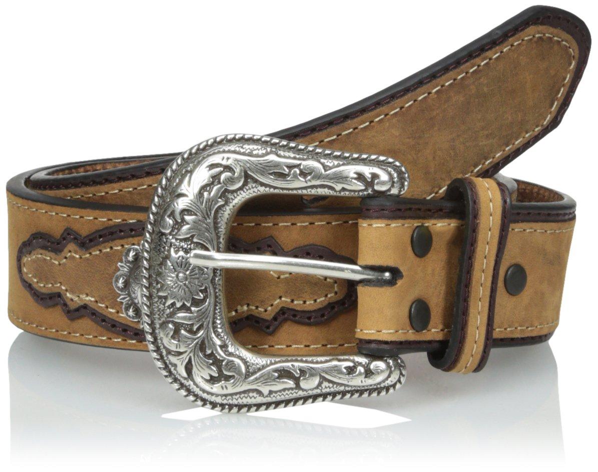 Dan Post Men's Crazy Hours Leather Ornamented Belt, Brown, 40