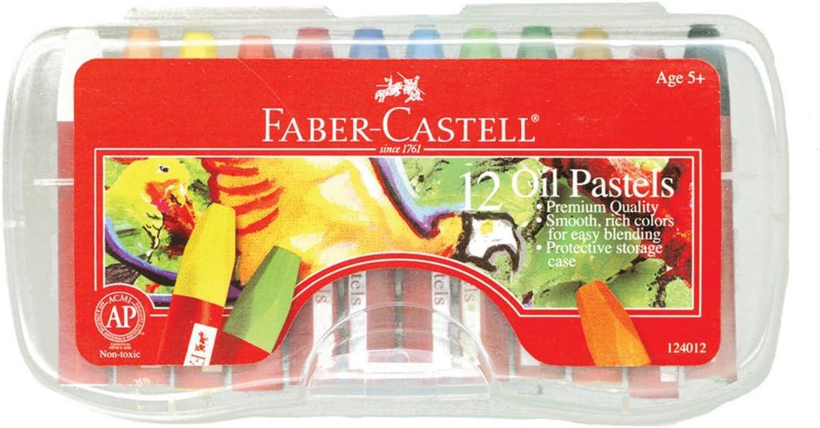 Faber-Castell Blendable Oil Pastels In Durable Storage Case 12 Vibrant Colors Non-Toxic Pastels for Kids
