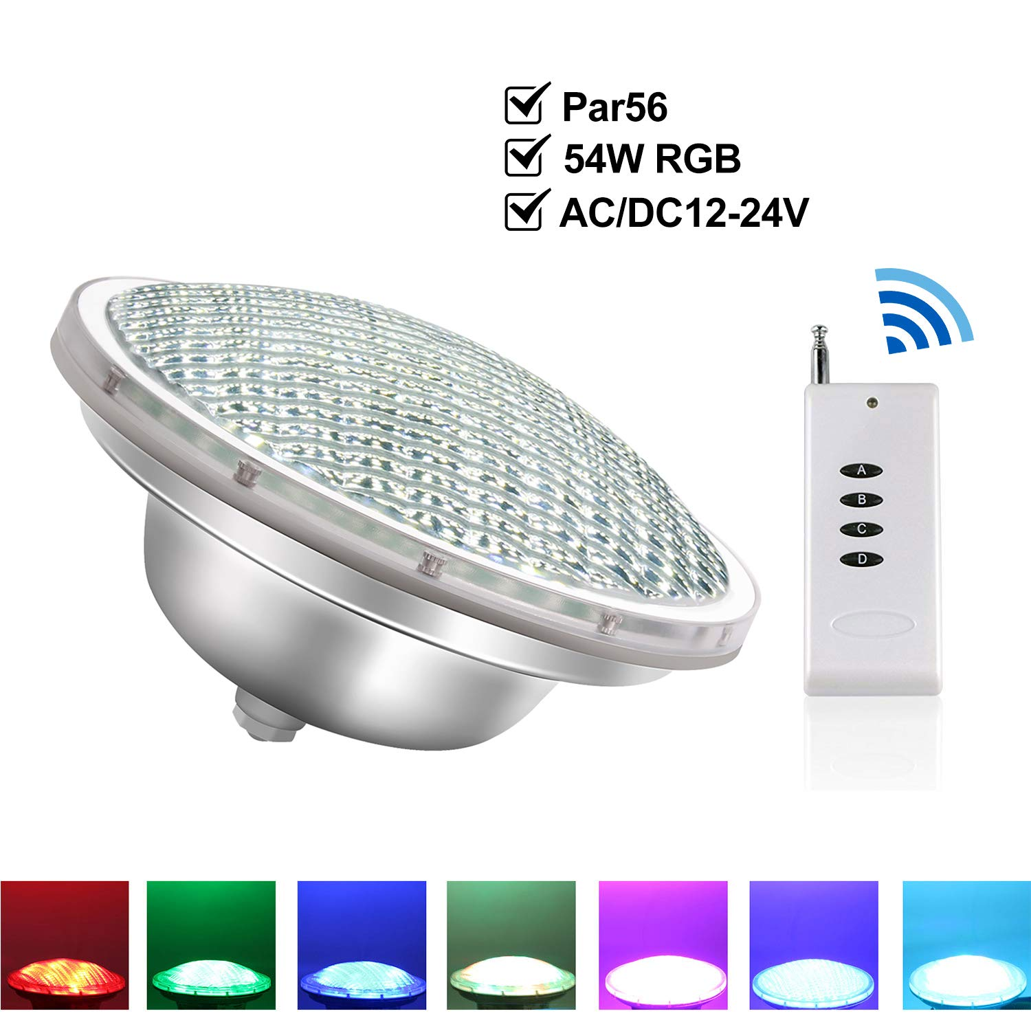 COOLWEST 36W PAR56 LED Swimming Pool Light Replacement Pool Lights Bulb 12V AC//DC Waterproof IP68 Warm White 3000K