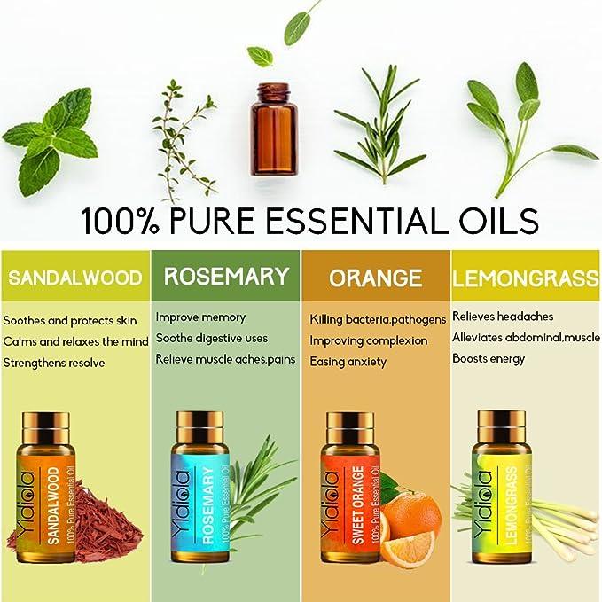 Yidiola, juego de 10 aceites esenciales, 100% puro lavanda, menta, eucalipto, árbol de té, rosemario, limón, naranja dulce, sándalo, jazmín, aceites de ...