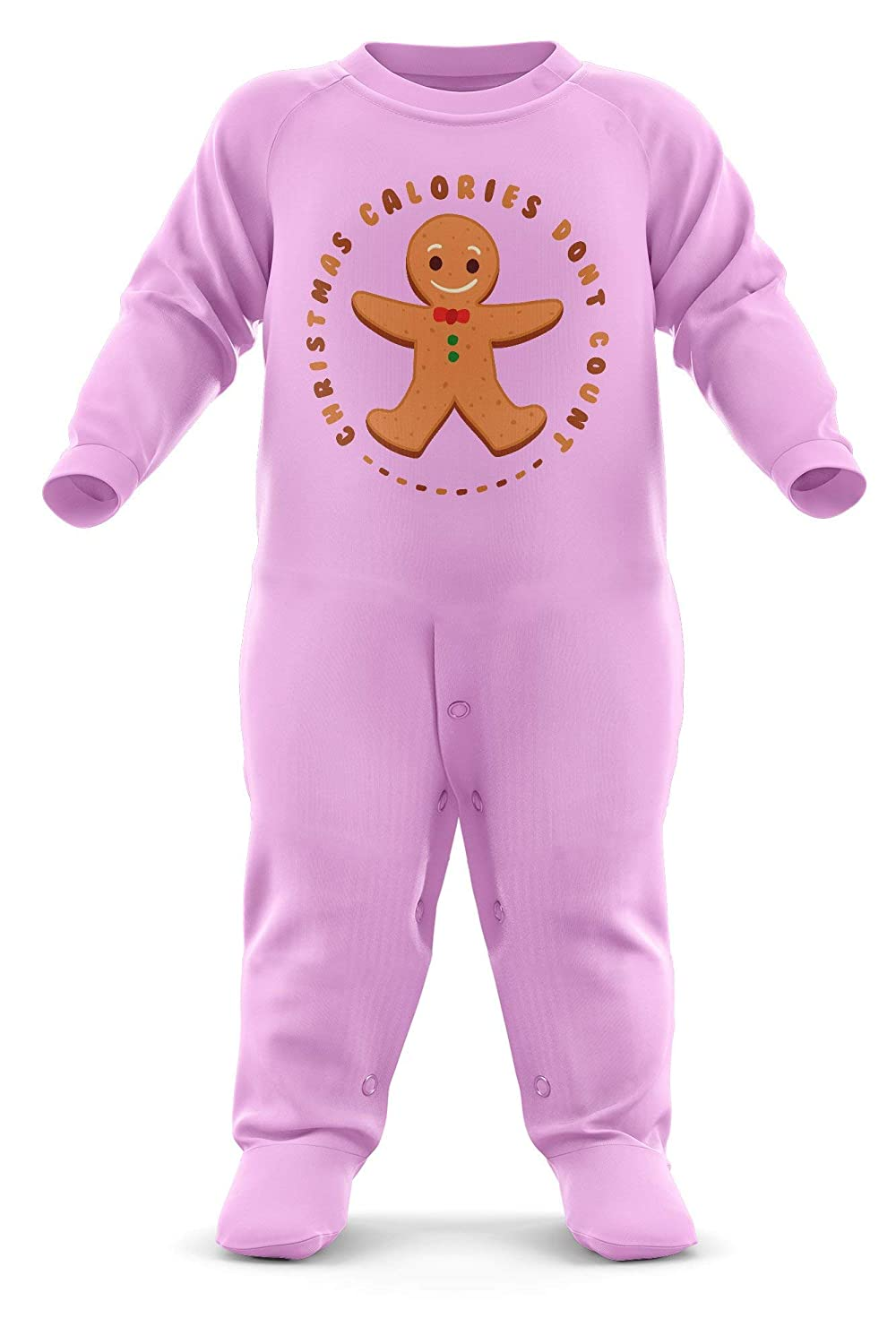 FunkyShirt Christmas Calories Dont Count Baby Romper Suit Gingerbread Man First Xmas Present Baby Grow Newborn Romper Suit