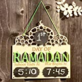 Wood Muslim Days of Ramadan Plaques with Iftar and Suhoor Time Marking Hanging Board Decorations Ramadan Plaque