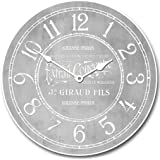 Vintage Parfum Gray Wall Clock, Available in 8 sizes, Most Sizes Ship 2 - 3 days, Whisper Quiet.