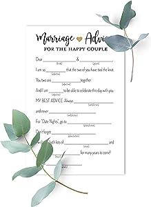 48 Gold Heart Marriage Advice Libs, Advice for Bride & Groom, Wedding Advice, Marriage Advice, Newlywed Advice (White)