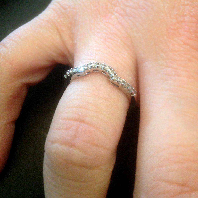 1/4ct Curved Diamond Notched Wedding Ring Enhancer 14K - Size 8