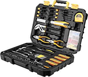 DESOON 196 Pieces Home Repair Tool Kits, Auto Mechanics Tool Set with Plastic Toolbox Storage Case