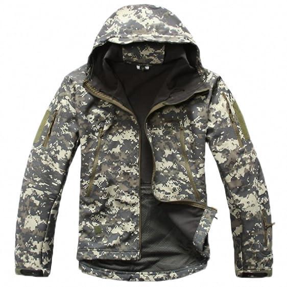 Army Camouflage Man Coat Military Jacket Waterproof Windbreaker Tactical Softshell Hoodie Jacket Winter Outwear ACU XS