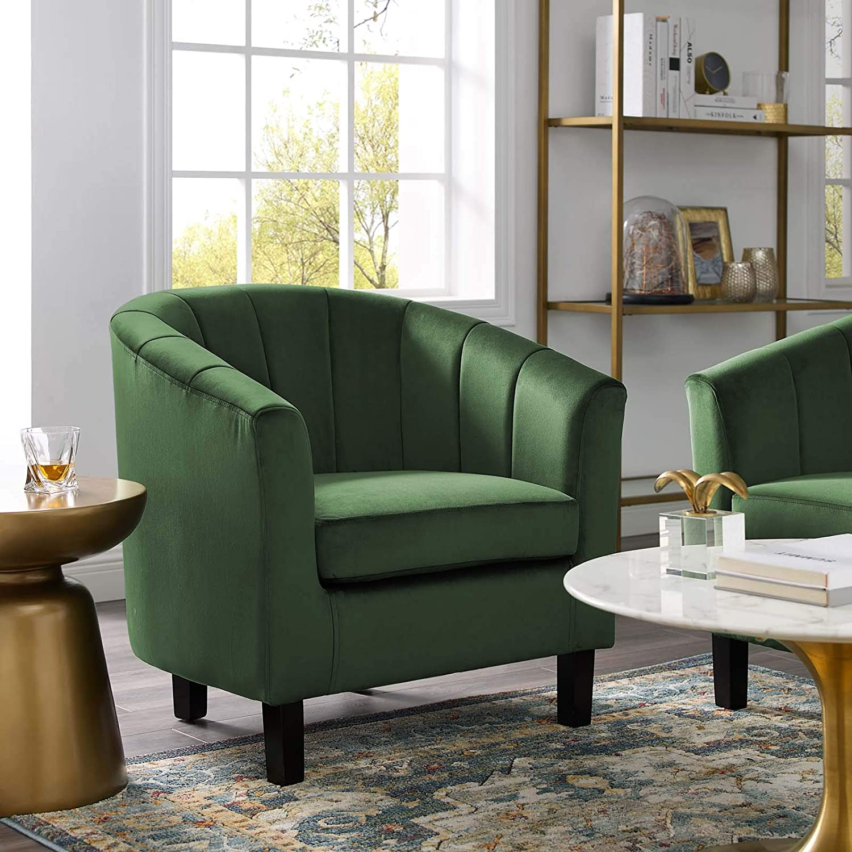 Modway Prospect Channel Tufted Upholstered Velvet Armchair, Emerald