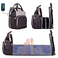 4 in 1 Diaper Bag Backpack Foldable Baby Bed Waterproof Mommy Bag, Large Capacity Baby Changing Bag, Portable Bassinet, Multi-Functional Baby Travel Bag, Portable Crib for Baby(Black-Gray)