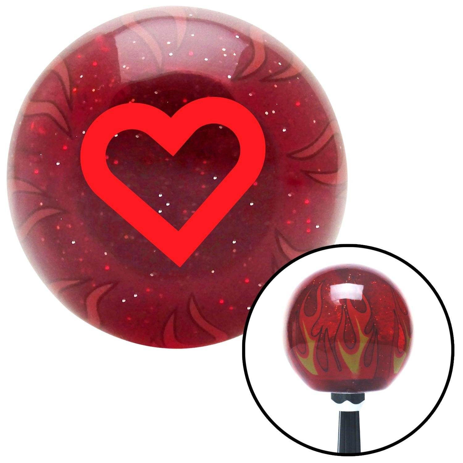 Red Fat Outlined Heart American Shifter 237070 Red Flame Metal Flake Shift Knob with M16 x 1.5 Insert