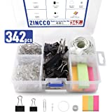 342 Pcs Small Office Supplies Kit with Storage Container, Metal Binder Clips Medium/Small, Paper Clips, Assorted Rubber Bands, Page Markers, Push Pins, for Home, Office, School, etc.