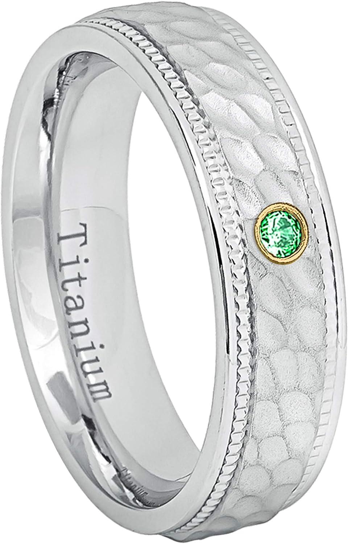 0.21ctw Tsavorite 3-Stone Titanium Ring January Birthstone Ring 8MM Brushed Finish Comfort Fit Beveled Edge White Wedding Band