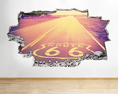 Z089 Route 66 American Road Smashed Wall Decal Poster 3D Art Stickers Room Vinyl