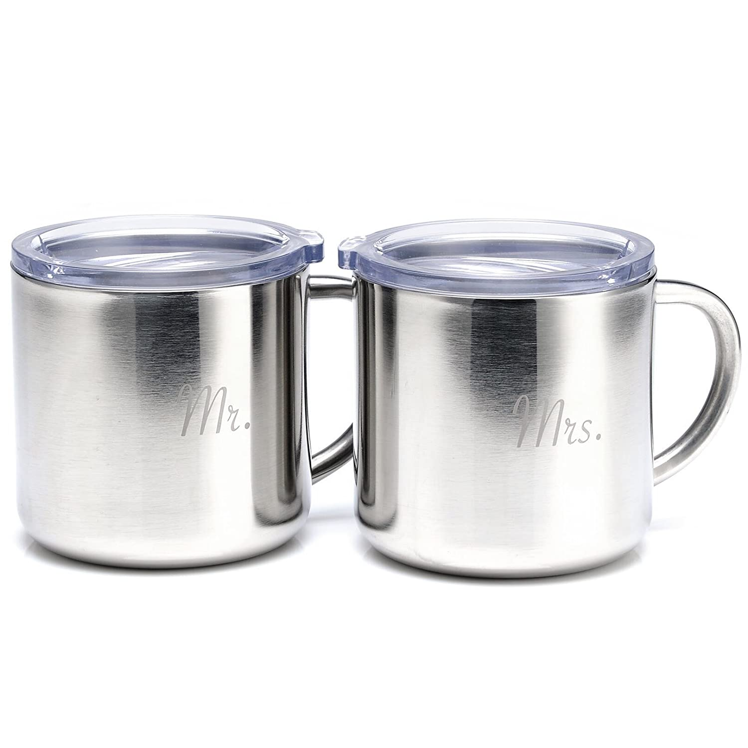 Mr. & Mrs. Coffee Mug Set made our list of camping gifts couples will love and are the best gifts for couples who camp in tents or RVs including awesome gifts for people who love camping with their friends and families!