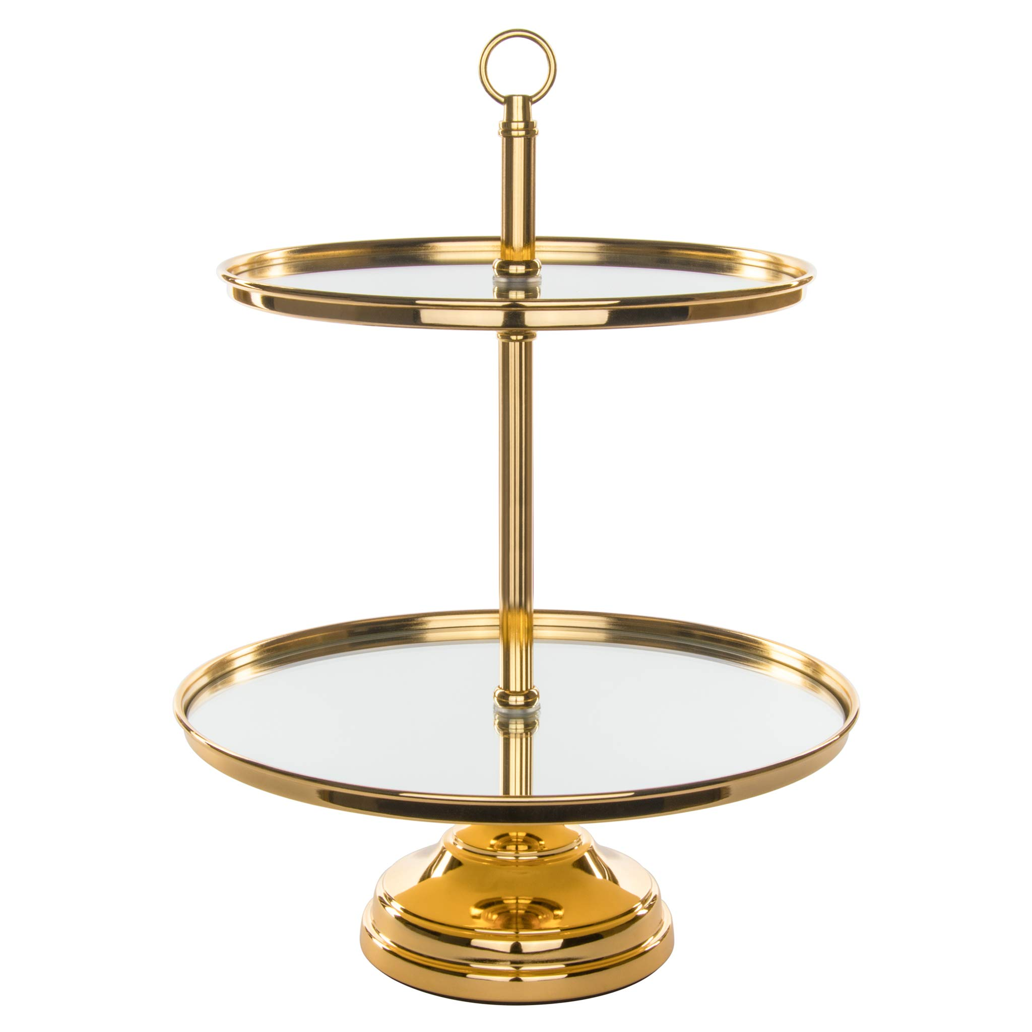 Amalfi Decor 2 Tier Dessert Cupcake Stand with Mirror Tops, Polished Metal Pastry Candy Cookie Tower Holder for Wedding Event Birthday Party, Round Modern Pedestal Tray, Gold by Amalfi Décor