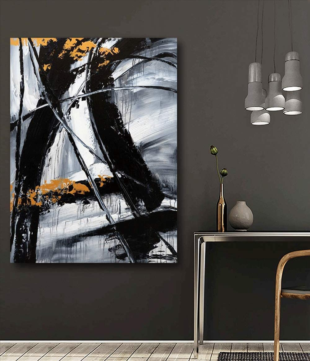 Yihui Arts Canvas Wall Art Decor Black and White Abstract Painting Large Art Canvas Pictures Modern Office Decor 24x36IN