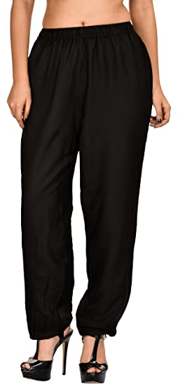 62116d100eca6 Khazana Basics Women s Rayon Pants(JTPZ36 XXL Black XX-Large ...
