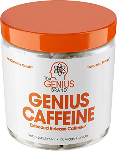 Genius Caffeine, Extended Release Microencapsulated Caffeine Pills, All Natural Non-Crash Sustained Energy Focus Supplement, Preworkout Nootropic Brain Booster For Men Women,100 Count