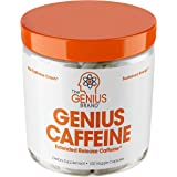 Genius Caffeine, Extended Release Microencapsulated Caffeine Pills, All Natural Non-Crash Sustained Energy & Focus Supplement